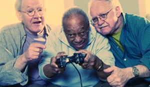 Elderly Men Playing Video Game